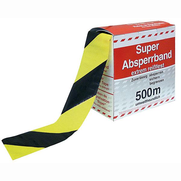 absperrband flatterband warnband gelb schwarz 500 meter. Black Bedroom Furniture Sets. Home Design Ideas