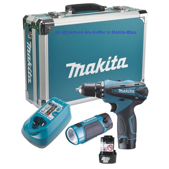 makita df330dwlx4 akkuschrauber df 330 d akku lampe 10 8 volt 1 3 ah ebay. Black Bedroom Furniture Sets. Home Design Ideas